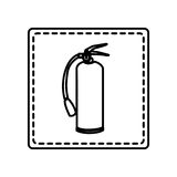 Monochrome contour square and dotted line with extinguisher Stock Images
