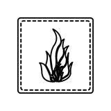 Monochrome contour square and dotted line with flame icon. Illustration Stock Image