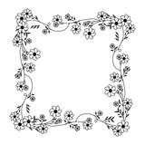 Monochrome contour with square frame ornament with creepers and violet flowers Stock Image