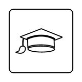 Monochrome contour square with graduation hat. Illustration Royalty Free Stock Images