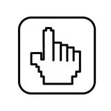 monochrome contour square with hand cursor icon Royalty Free Stock Photography