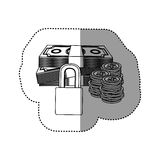 Monochrome contour sticker of bills and coins with padlock protection Royalty Free Stock Image
