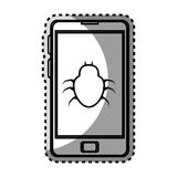 Monochrome contour sticker with cell phone with virus beetle Royalty Free Stock Images
