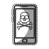 Monochrome contour sticker with cell phone with virus skull and bones Stock Photography