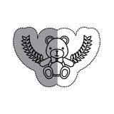 Monochrome contour sticker circle with teddy bear with bow tie and olive branchs and middle shadow. Illustration Royalty Free Stock Photography