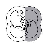 monochrome contour sticker of circular figures with numeration Royalty Free Stock Images