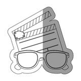 Monochrome contour sticker with clapper board and 3d glasses. Illustration Royalty Free Stock Image