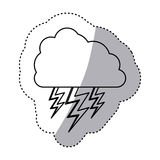 Monochrome contour sticker of cloud with lightnings Stock Images