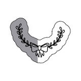 Monochrome contour sticker with decorative half crown branch and topknot and middle shadow Royalty Free Stock Images