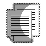 Monochrome contour sticker with document file Royalty Free Stock Photography
