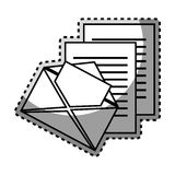 Monochrome contour sticker with envelope mail and documents sheets Stock Photography