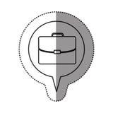 Monochrome contour sticker with executive suitcase icon in circular speech Stock Image