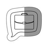 Monochrome contour sticker with executive suitcase icon in square speech Royalty Free Stock Photography