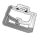 Monochrome contour sticker with executive suitcase Royalty Free Stock Photos