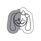 Monochrome contour sticker with female dog head and middle shadow Stock Photo