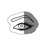 Monochrome contour sticker with female eye and eyebrow Stock Photography
