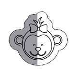 Monochrome contour sticker with female monkey head and middle shadow Stock Image
