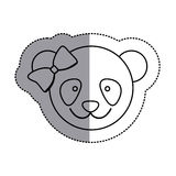 Monochrome contour sticker with female panda head and middle shadow. Illustration Stock Images