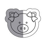 monochrome contour sticker with female pig head and middle shadow Royalty Free Stock Photo