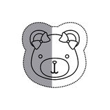 Monochrome contour sticker with female teddy bear head and middle shadow Stock Photos