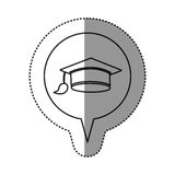 Monochrome contour sticker with graduation hat icon in circular speech. Illustration Stock Photo
