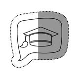 Monochrome contour sticker with graduation hat icon in square speech. Illustration Stock Image
