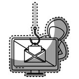 Monochrome contour sticker with hacker stealing mail information Royalty Free Stock Photography