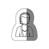 Monochrome contour sticker with half body of female customer service without face. Illustration Royalty Free Stock Image
