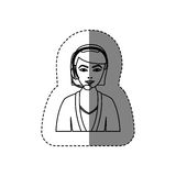 Monochrome contour sticker with half body of female customer service without face. Illustration Stock Photos