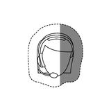 Monochrome contour sticker with head of female customer service without face. Illustration Stock Photos