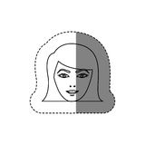 Monochrome contour sticker with head of woman with short hair Royalty Free Stock Photos