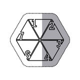 monochrome contour sticker of hexagon figure with sections and numeration Royalty Free Stock Photo