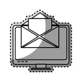 Monochrome contour sticker with lcd monitor and envelope mail on screen. Vector illustration Royalty Free Stock Photo