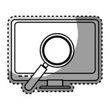 Monochrome contour sticker with lcd monitor and virus scanning. Vector illustration Stock Image