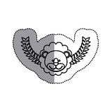 Monochrome contour sticker with lion head and olive branchs and middle shadow Royalty Free Stock Photo