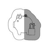 Monochrome contour sticker of money box in shape of piggy and padlock Royalty Free Stock Photography