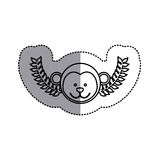 Monochrome contour sticker with monkey head and olive branchs and middle shadow Royalty Free Stock Photo