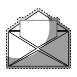 Monochrome contour sticker with open envelope mail. Vector illustration Royalty Free Stock Image