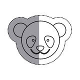Monochrome contour sticker with panda head and middle shadow. Illustration Stock Photo