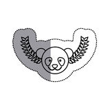 Monochrome contour sticker with panda head and olive branchs and middle shadow Stock Photo