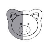 monochrome contour sticker with pig head and middle shadow Stock Images