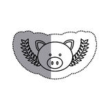 Monochrome contour sticker with pig head and olive branchs and middle shadow Stock Photo