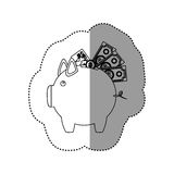 Monochrome contour sticker of piggy bank with credit card and bills and coins Royalty Free Stock Images