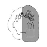 Monochrome contour sticker of piggy bank with credit card and bills and coins protected Royalty Free Stock Photos
