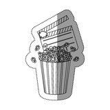 monochrome contour sticker with popcorn container and clapper board Stock Photos