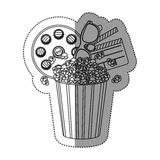 Monochrome contour sticker with popcorn cup with cinematography tape and clapper board. Illustration Royalty Free Stock Image
