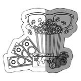 Monochrome contour sticker with popcorn cup and glasses 3D and money and movie tickets. Illustration Stock Photo