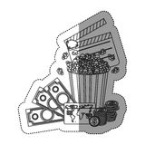 Monochrome contour sticker with popcorn cup with money and movie tickets Royalty Free Stock Image
