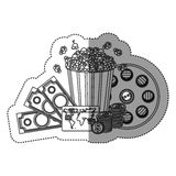 Monochrome contour sticker with popcorn cup and money and movie tickets and movie tape Royalty Free Stock Images