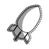 Monochrome contour sticker with rocket icon Stock Images